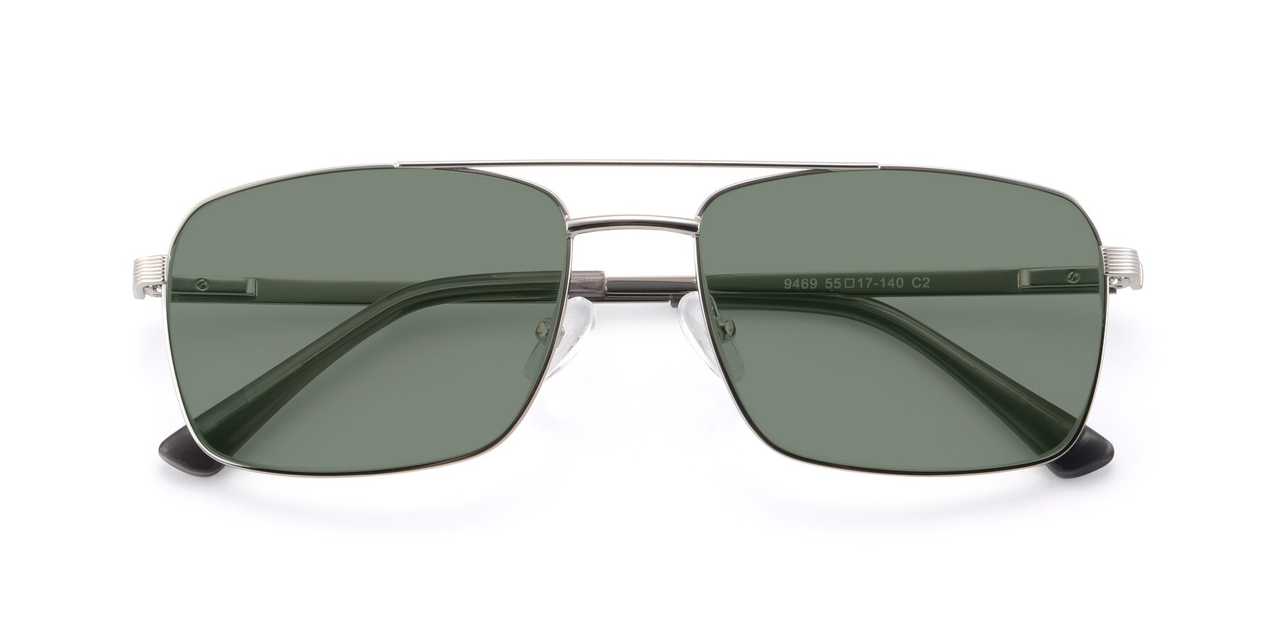 Folded Front of 9469 in Silver with Medium Green Tinted Lenses