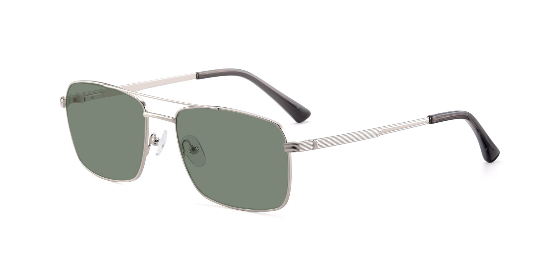 Angle of 9469 in Silver with Medium Green Tinted Lenses