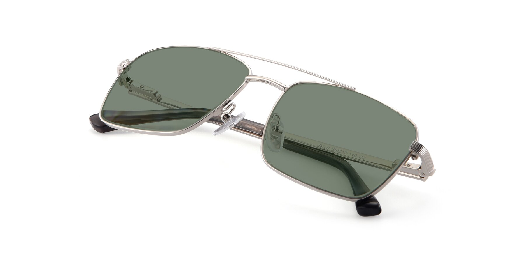 View of 9469 in Silver with Medium Green Tinted Lenses