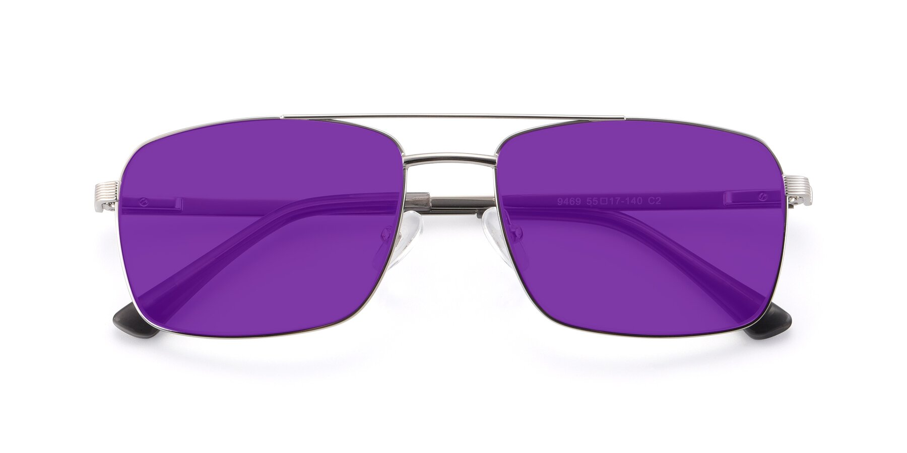 Folded Front of 9469 in Silver with Purple Tinted Lenses