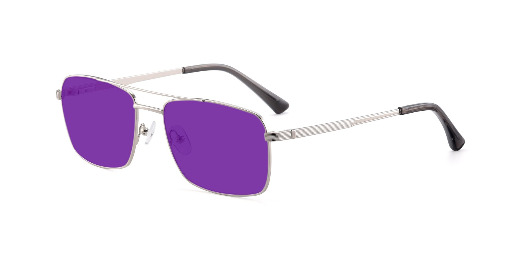 Angle of 9469 in Silver with Purple Tinted Lenses