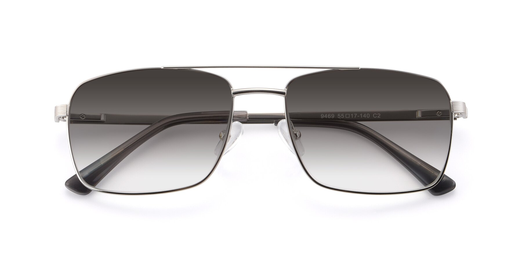 Folded Front of 9469 in Silver with Gray Gradient Lenses
