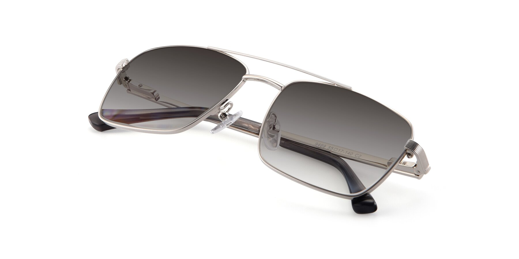 View of 9469 in Silver with Gray Gradient Lenses