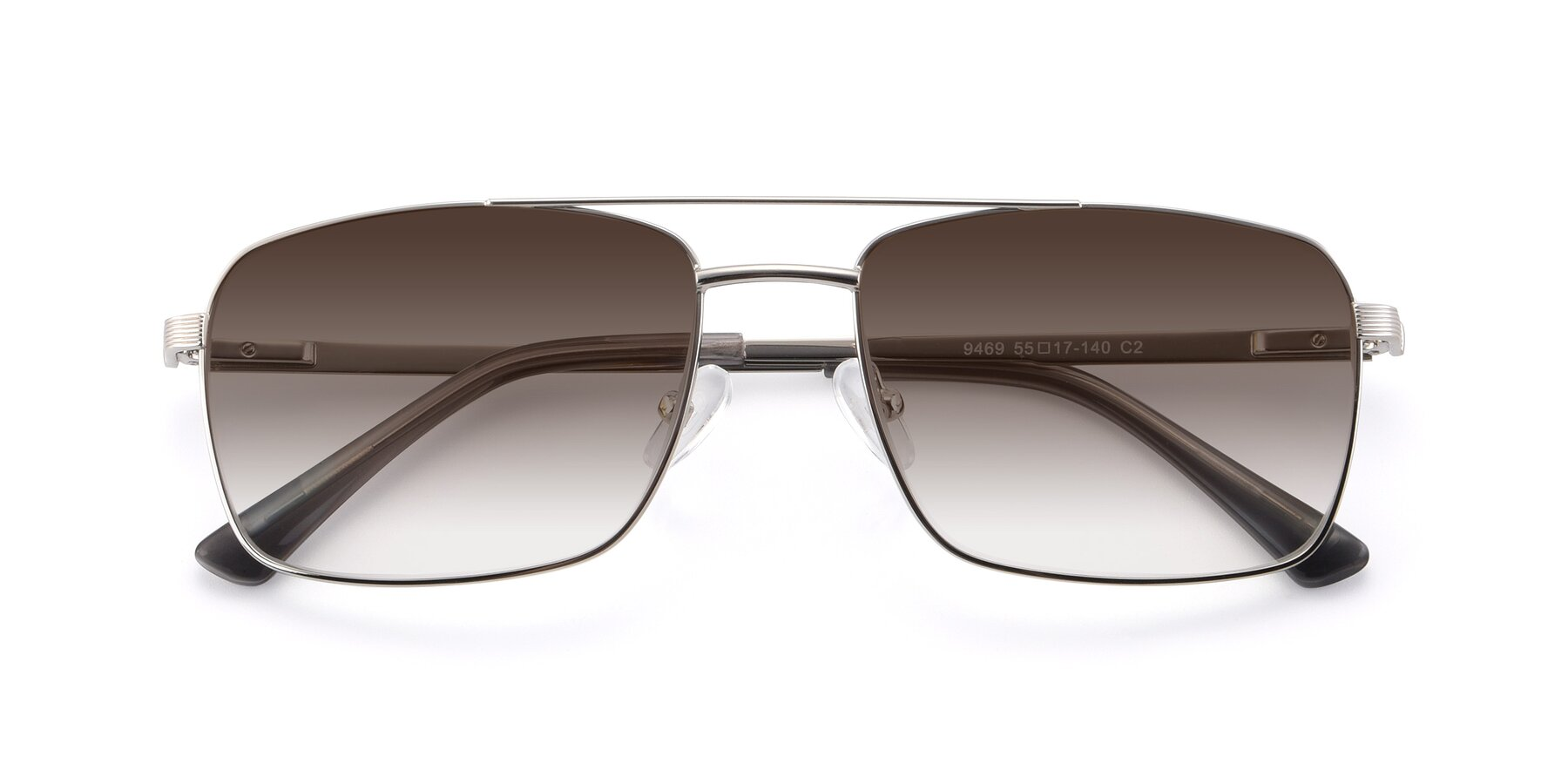 Folded Front of 9469 in Silver with Brown Gradient Lenses