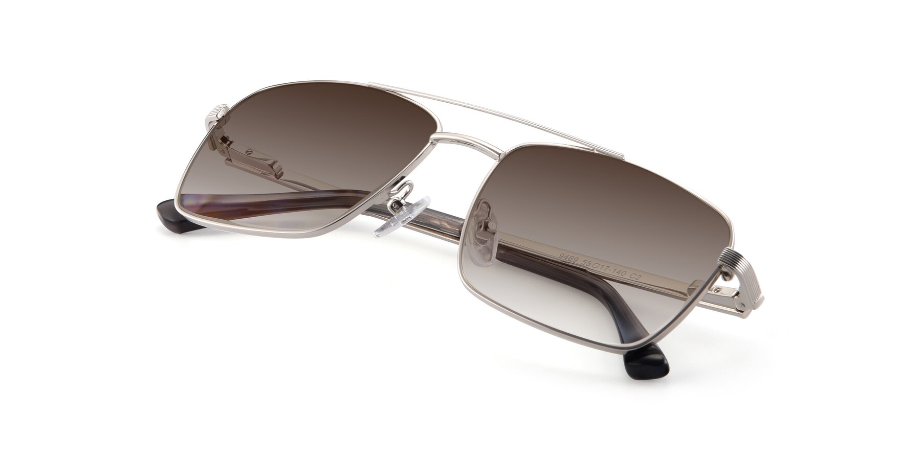View of 9469 in Silver with Brown Gradient Lenses
