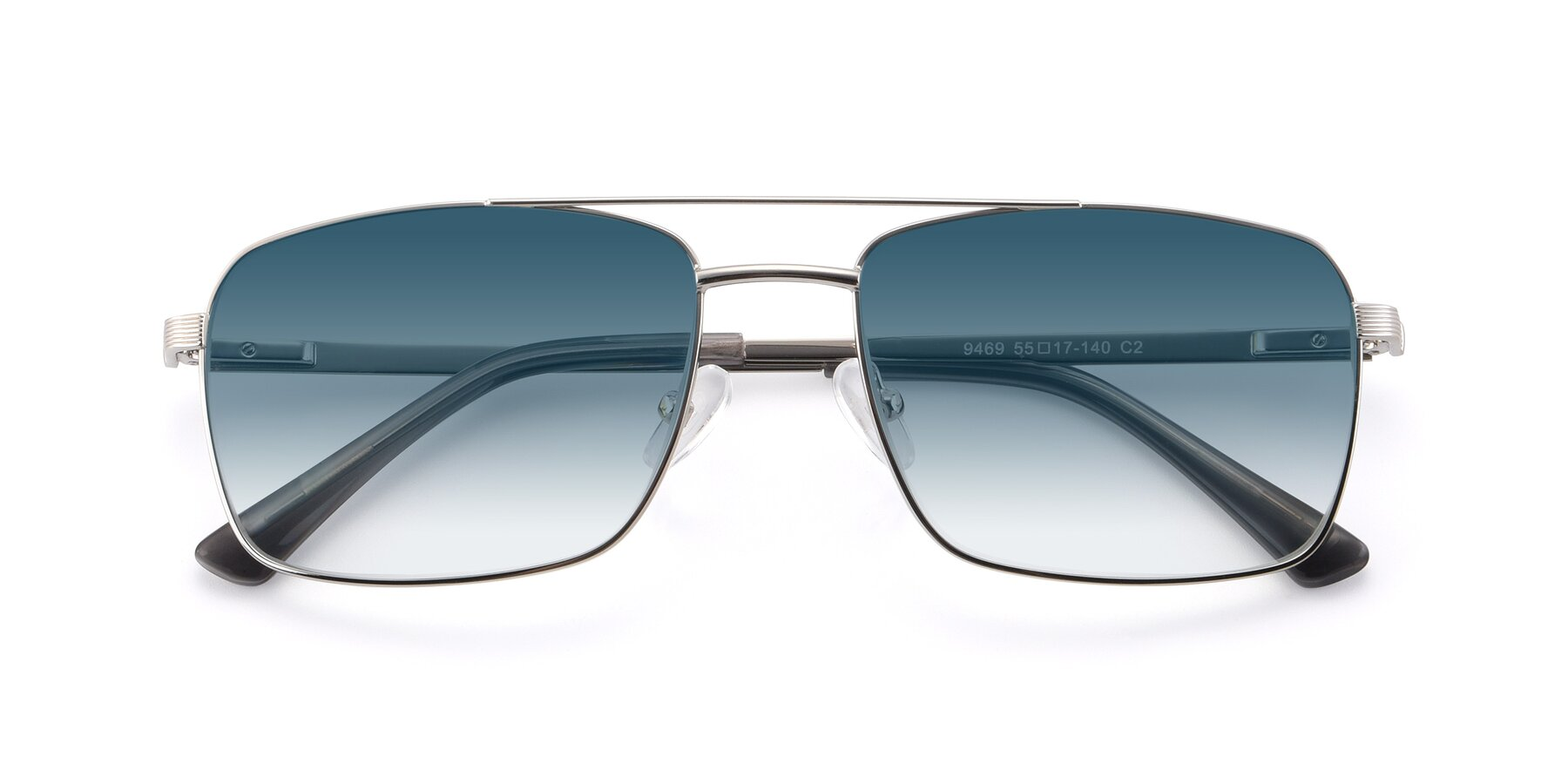 Folded Front of 9469 in Silver with Blue Gradient Lenses