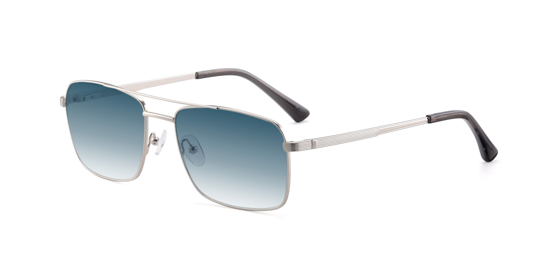 Angle of 9469 in Silver with Blue Gradient Lenses
