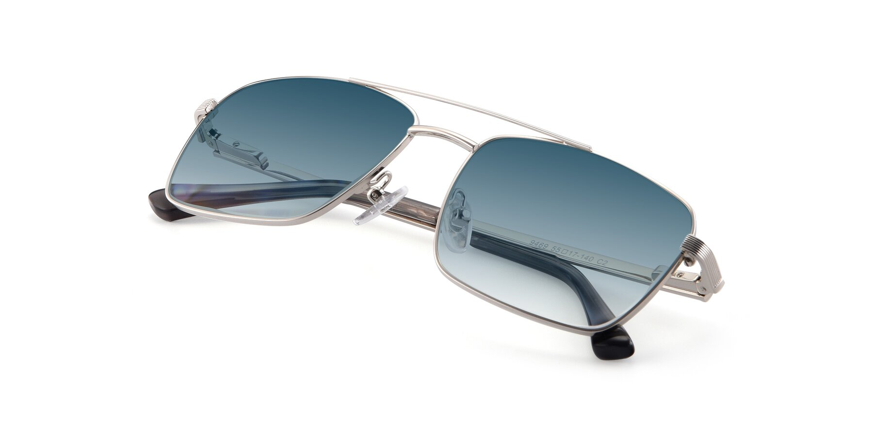 View of 9469 in Silver with Blue Gradient Lenses
