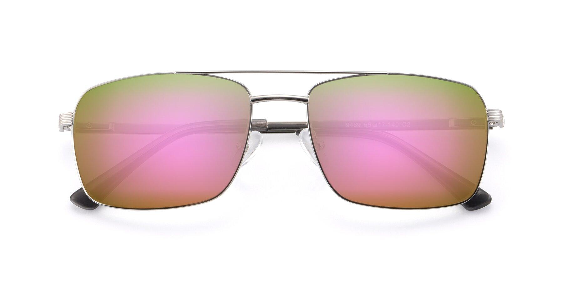 Folded Front of 9469 in Silver with Pink Mirrored Lenses