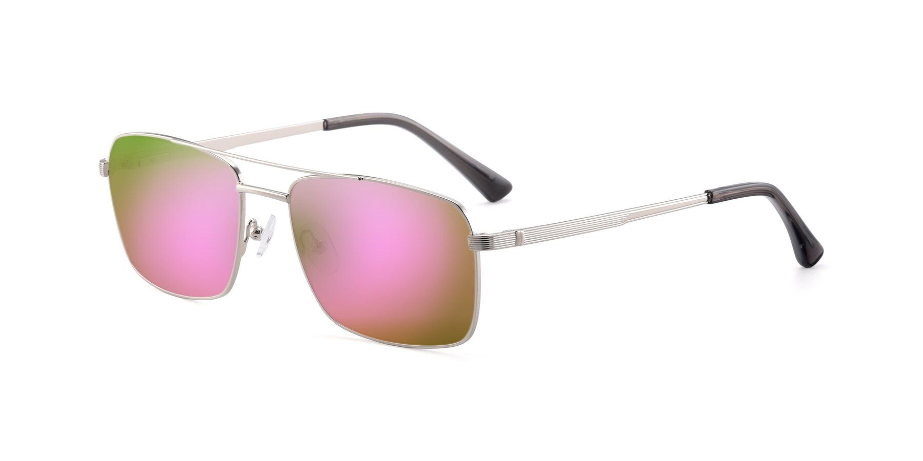 Angle of 9469 in Silver with Pink Mirrored Lenses