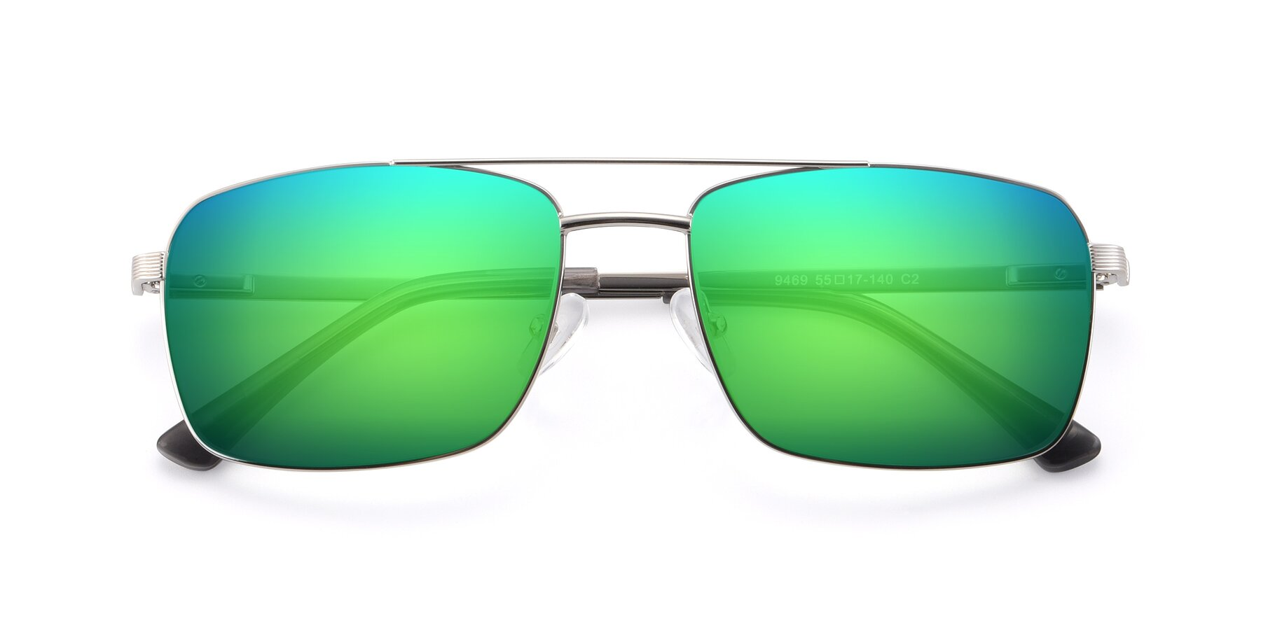 Folded Front of 9469 in Silver with Green Mirrored Lenses