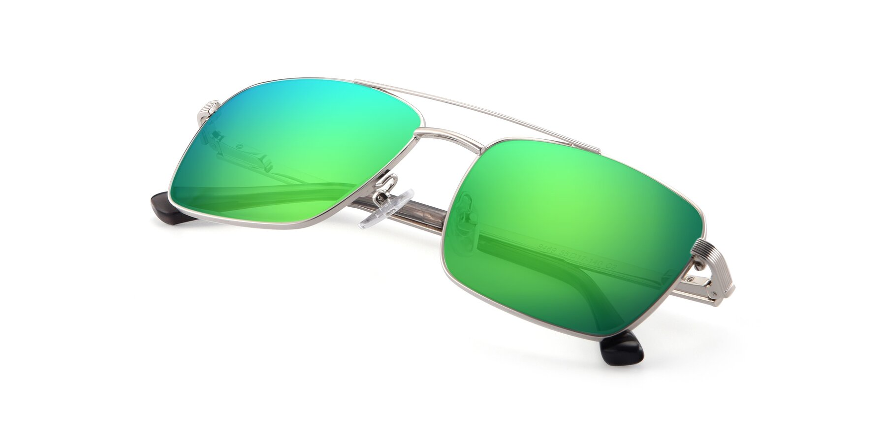 View of 9469 in Silver with Green Mirrored Lenses