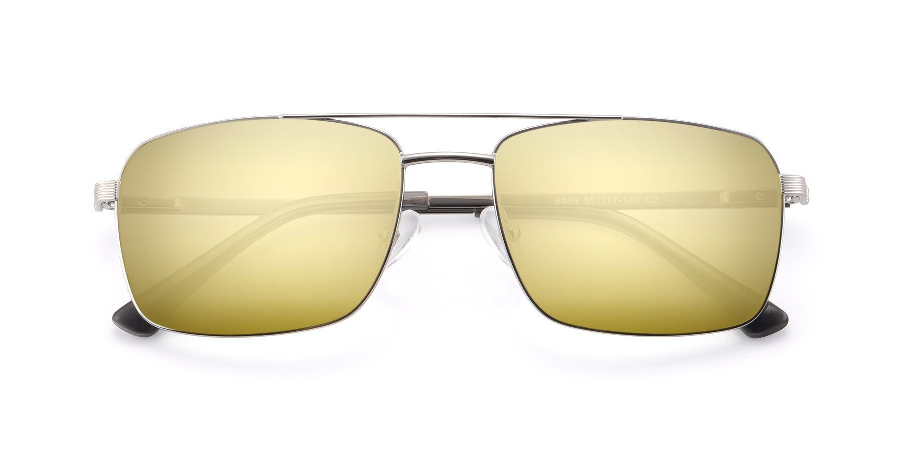 Folded Front of 9469 in Silver with Gold Mirrored Lenses