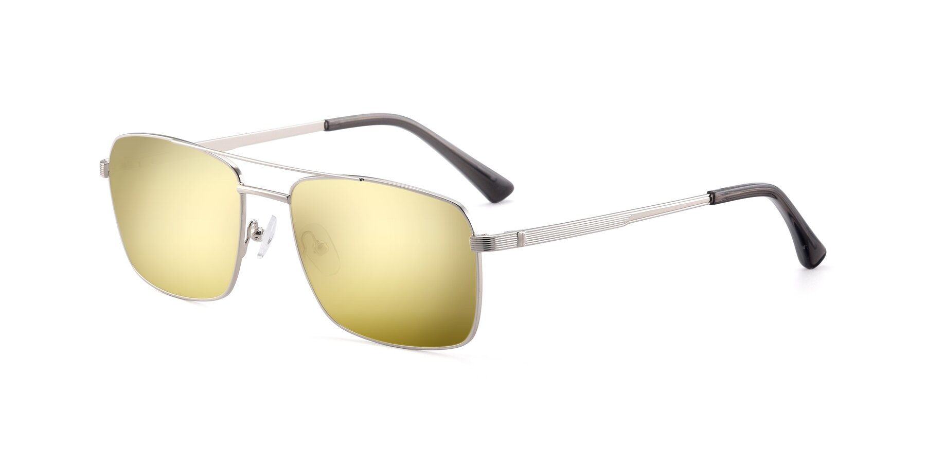 Angle of 9469 in Silver with Gold Mirrored Lenses