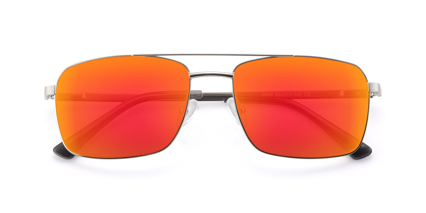 Folded Front of 9469 in Silver with Red Gold Mirrored Lenses