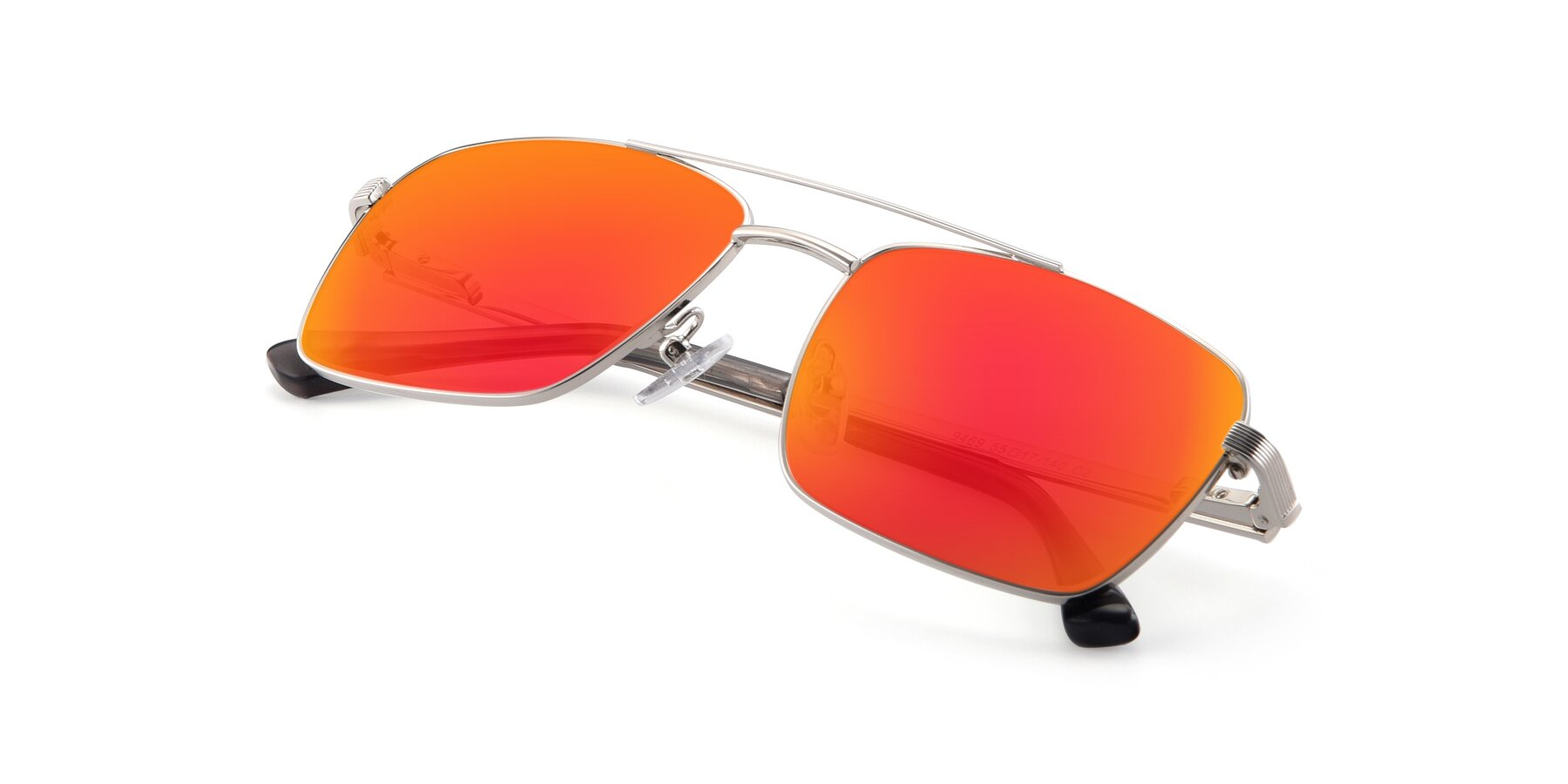 View of 9469 in Silver with Red Gold Mirrored Lenses
