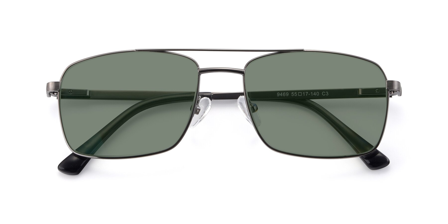 Folded Front of 9469 in Gun with Medium Green Tinted Lenses