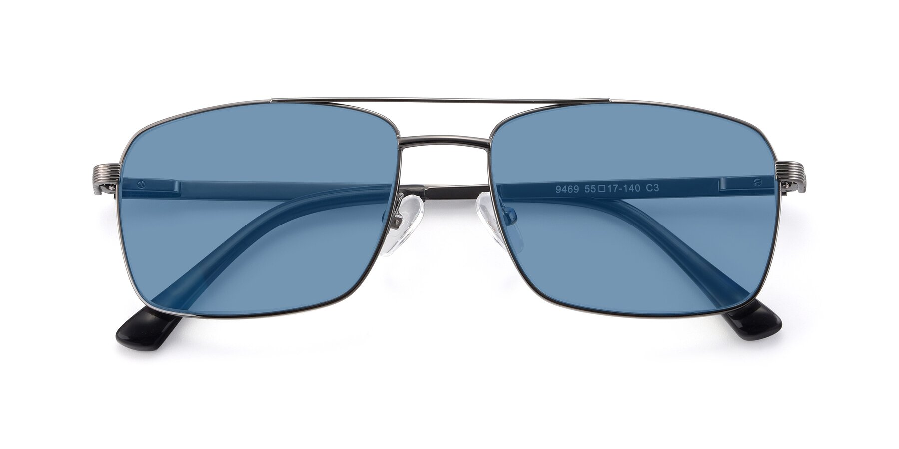 Folded Front of 9469 in Gun with Medium Blue Tinted Lenses