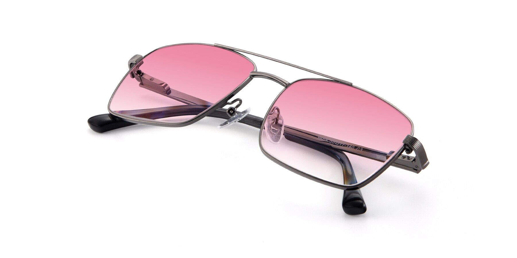 View of 9469 in Gun with Pink Gradient Lenses