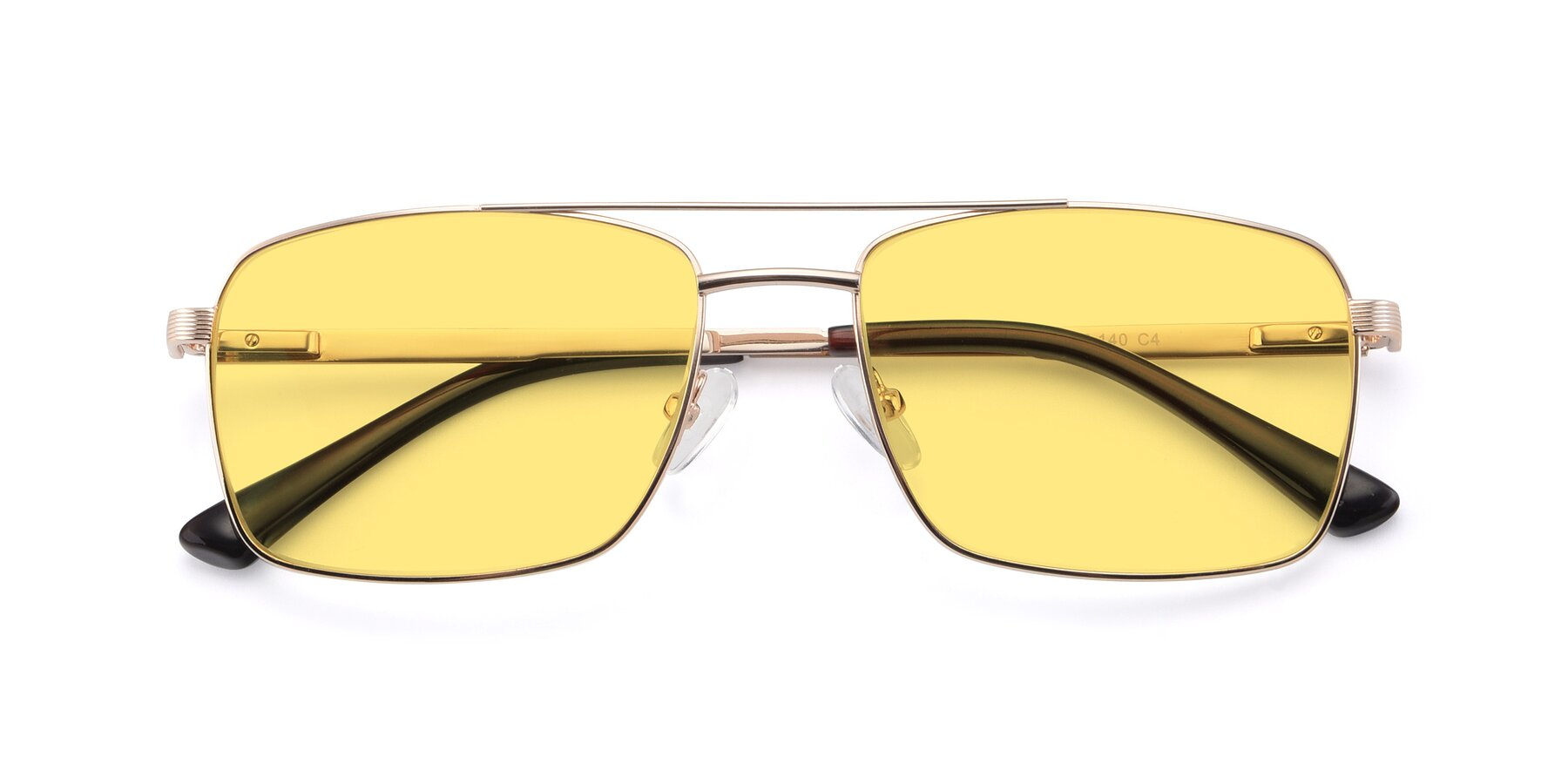 Folded Front of 9469 in Gold with Medium Yellow Tinted Lenses