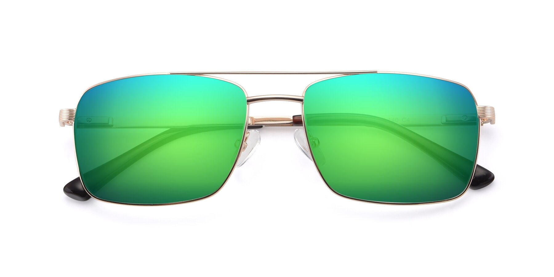 Folded Front of 9469 in Gold with Green Mirrored Lenses