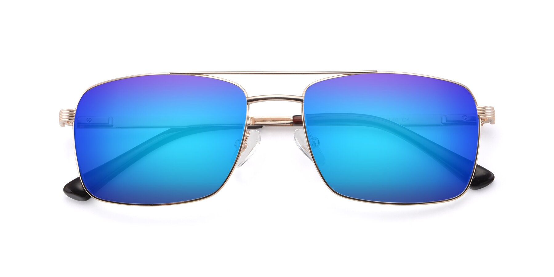Folded Front of 9469 in Gold with Blue Mirrored Lenses