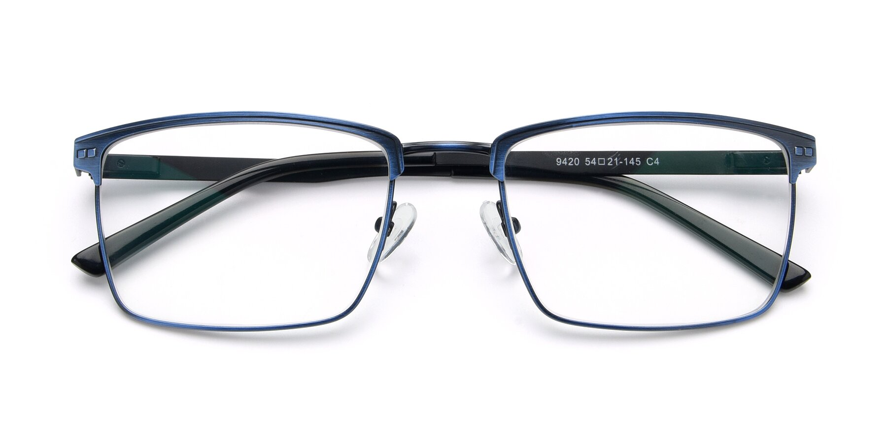 Folded Front of 9420 in Antique Blue with Clear Eyeglass Lenses