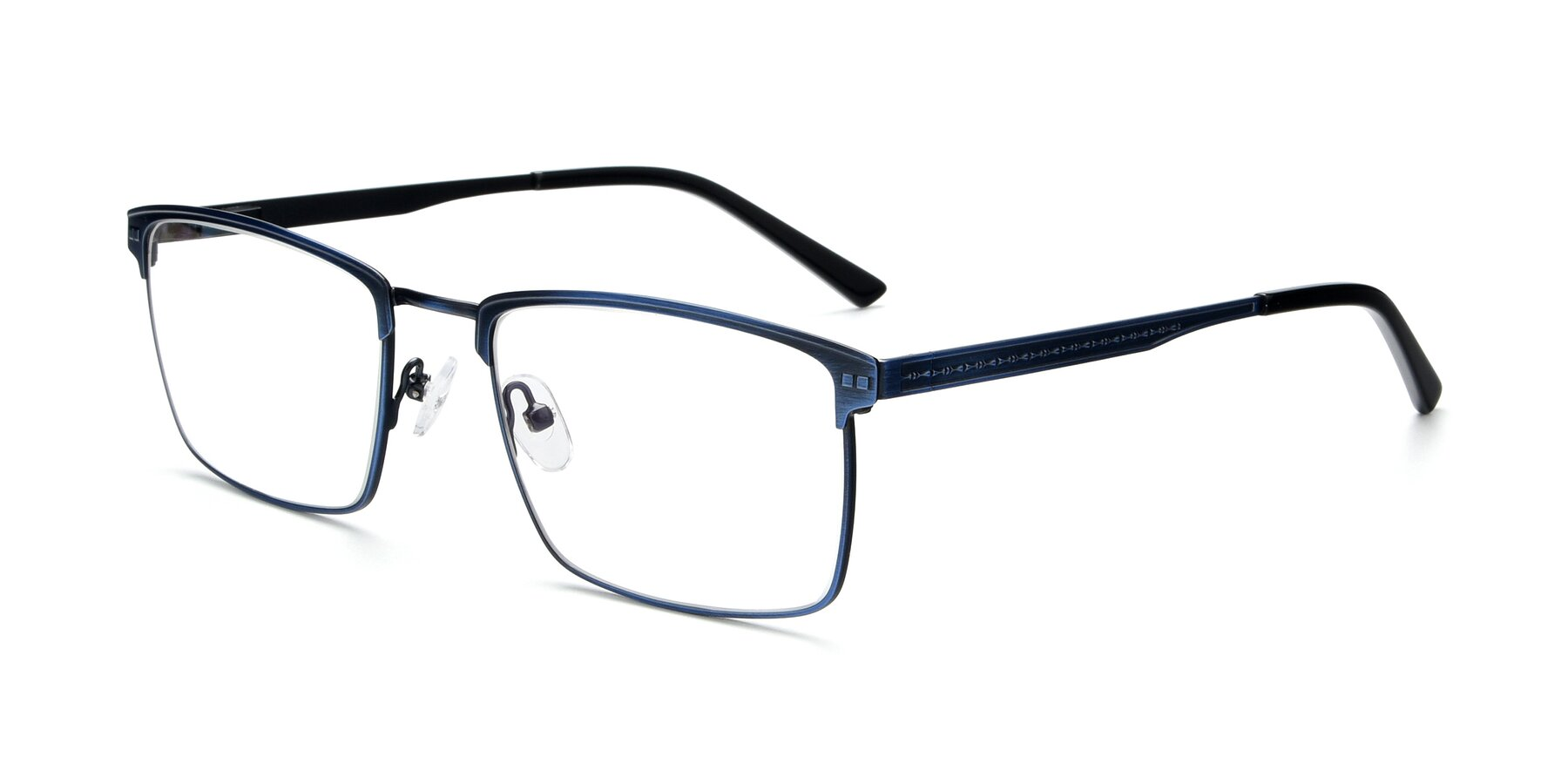 Angle of 9420 in Antique Blue with Clear Eyeglass Lenses