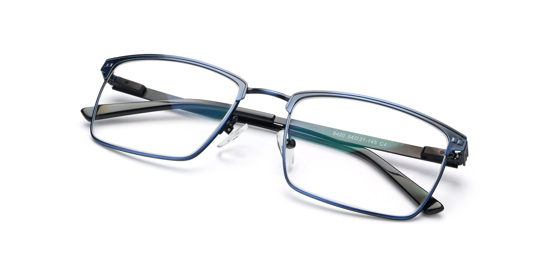 View of 9420 in Antique Blue with Clear Eyeglass Lenses