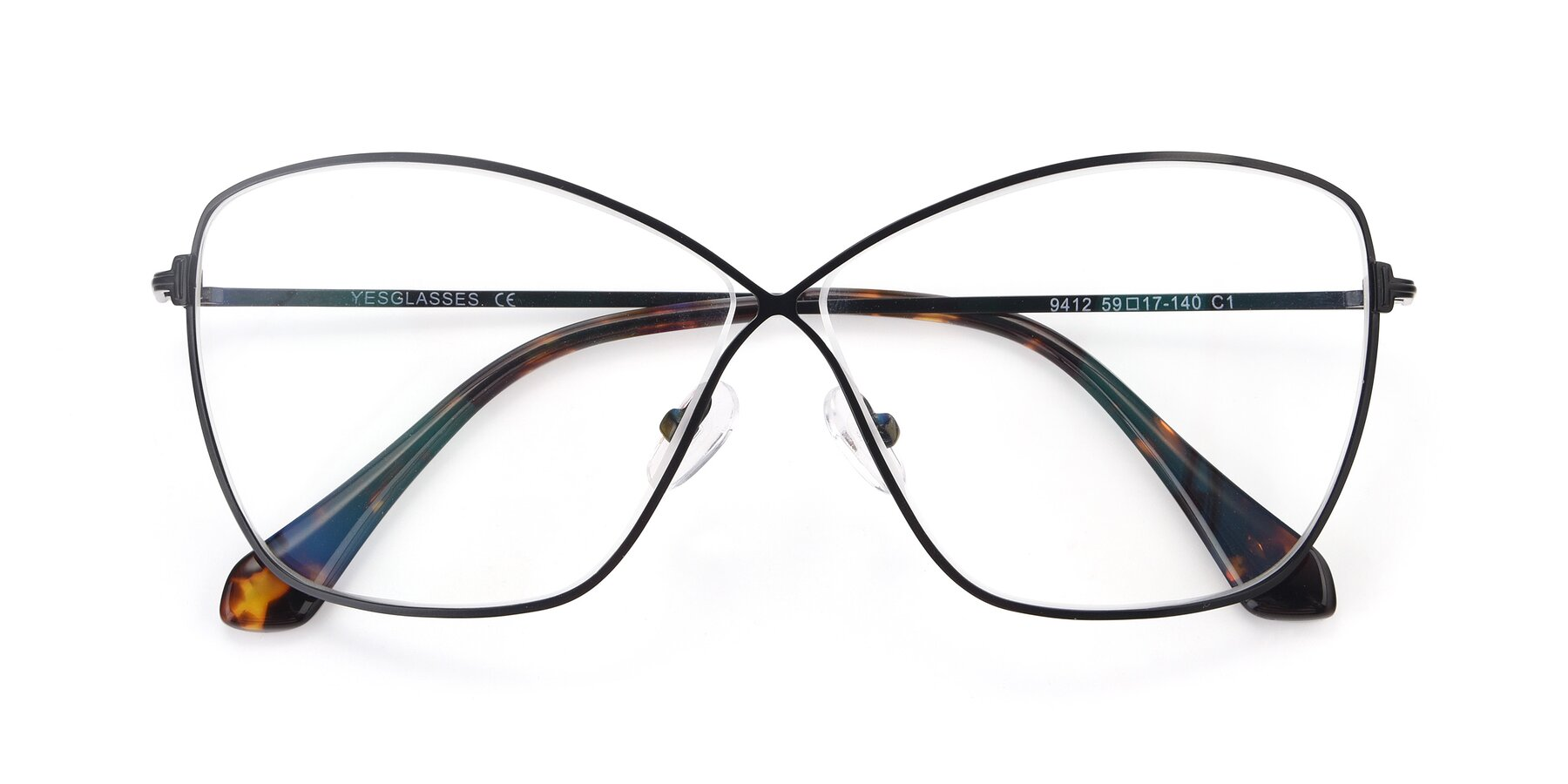 Folded Front of 9412 in Black with Clear Eyeglass Lenses