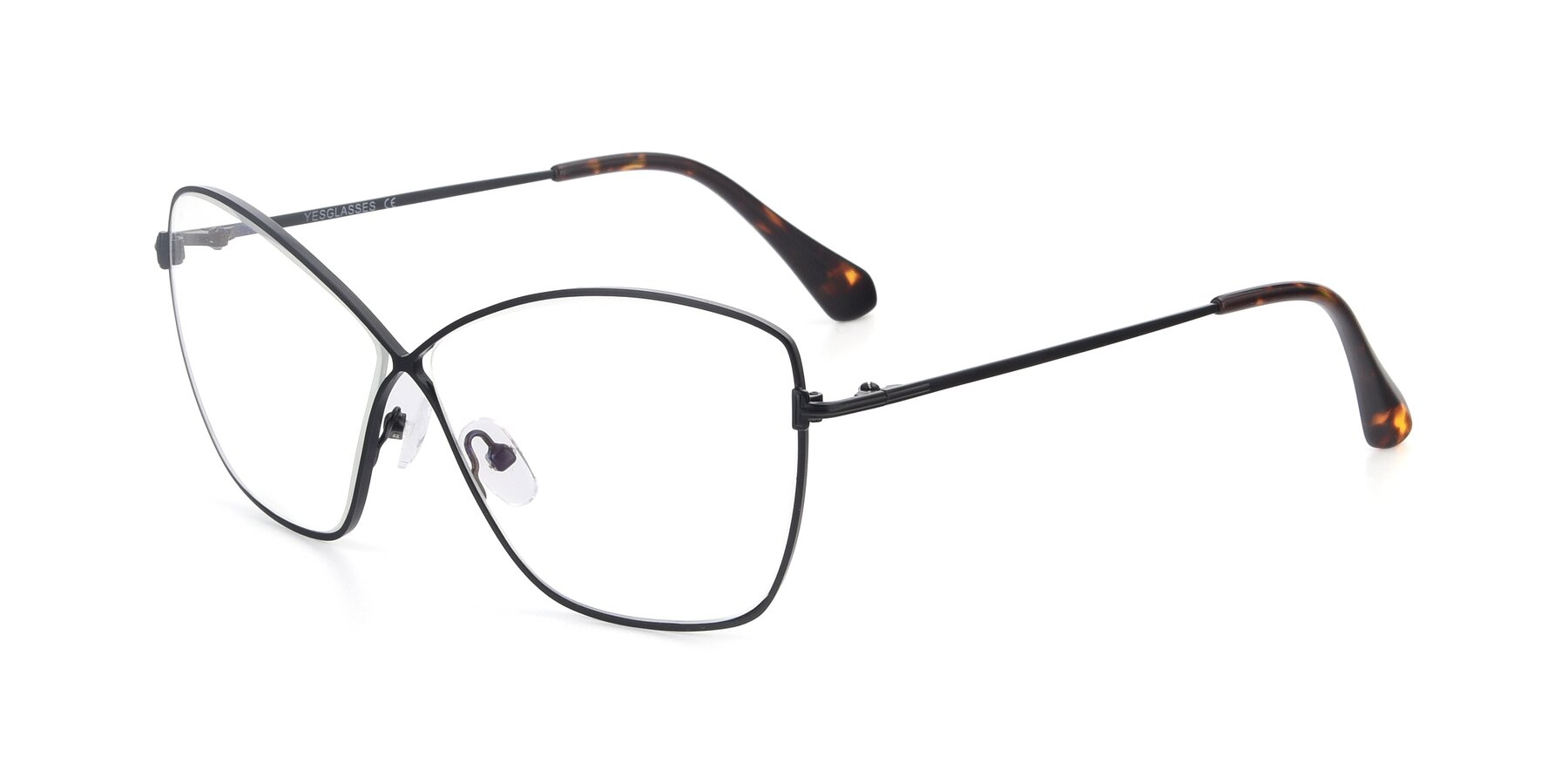 Angle of 9412 in Black with Clear Eyeglass Lenses