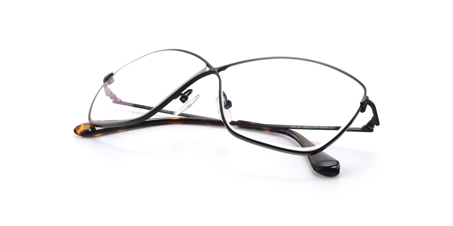 View of 9412 in Black with Clear Eyeglass Lenses