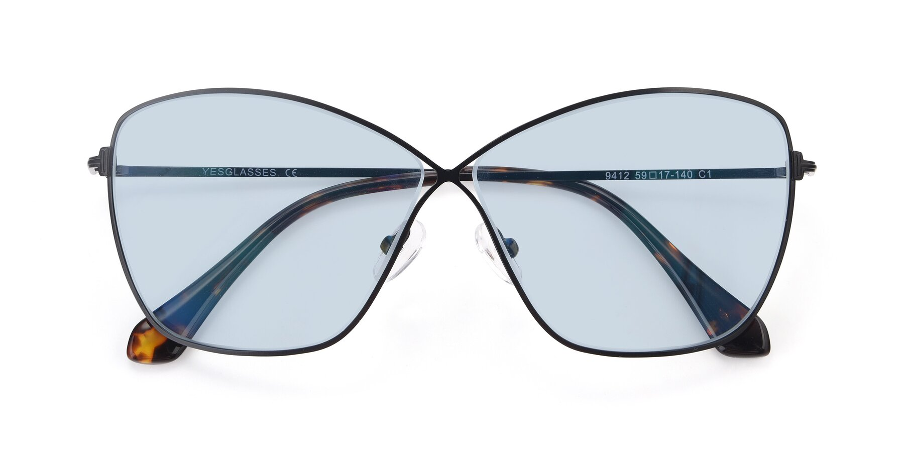 Folded Front of 9412 in Black with Light Blue Tinted Lenses