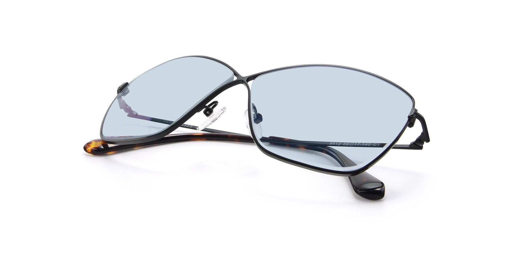 View of 9412 in Black with Light Blue Tinted Lenses