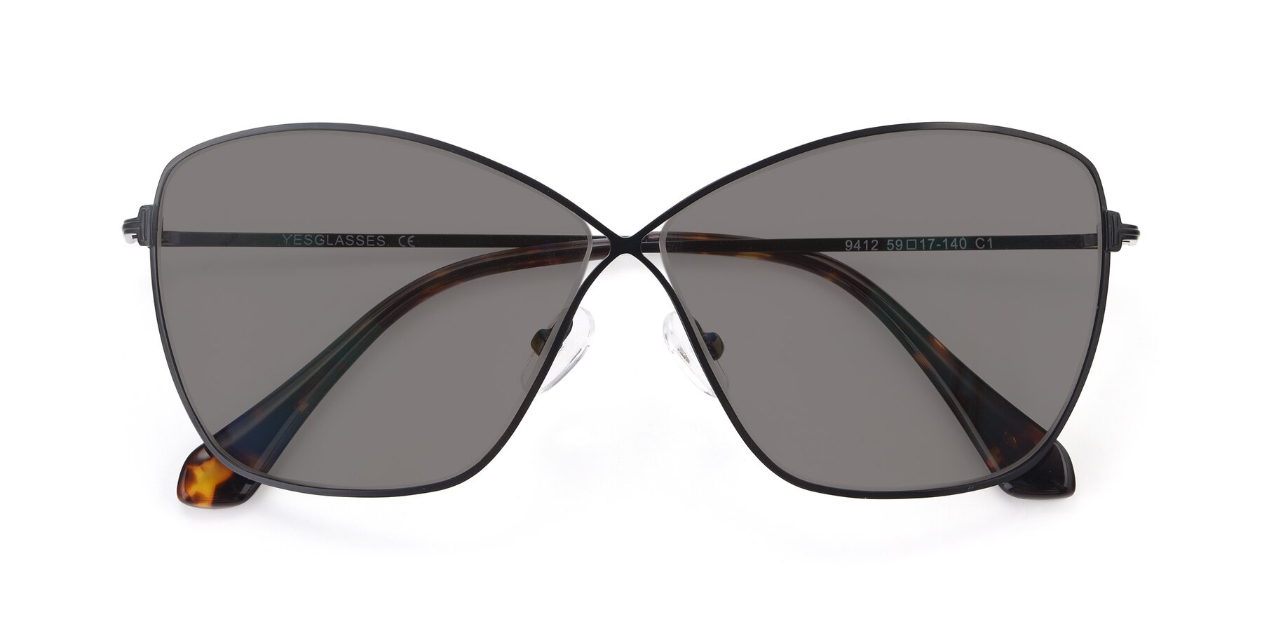 Folded Front of 9412 in Black with Medium Gray Tinted Lenses