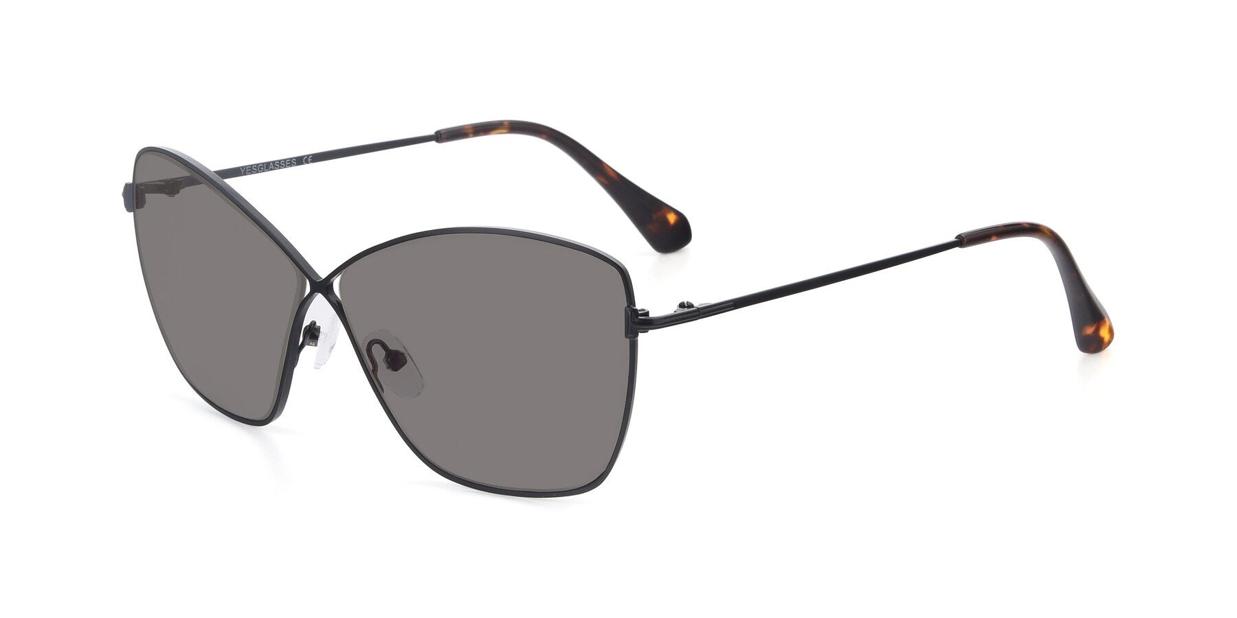 Angle of 9412 in Black with Medium Gray Tinted Lenses