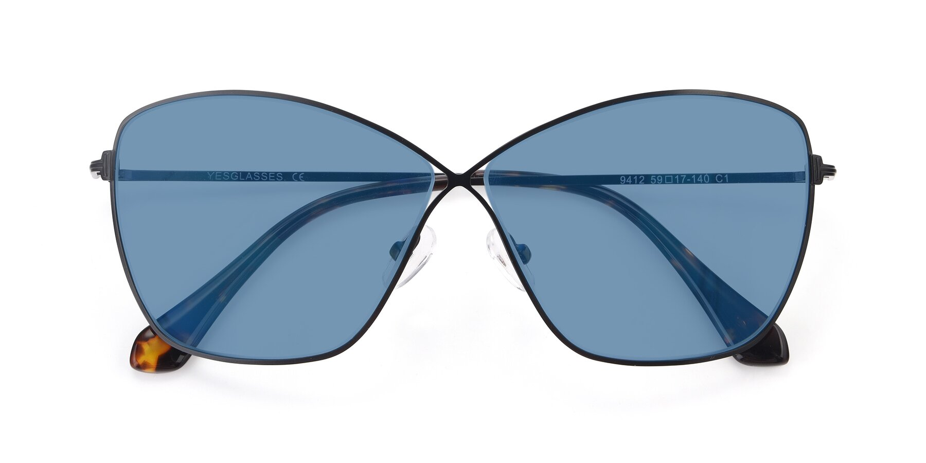 Folded Front of 9412 in Black with Medium Blue Tinted Lenses