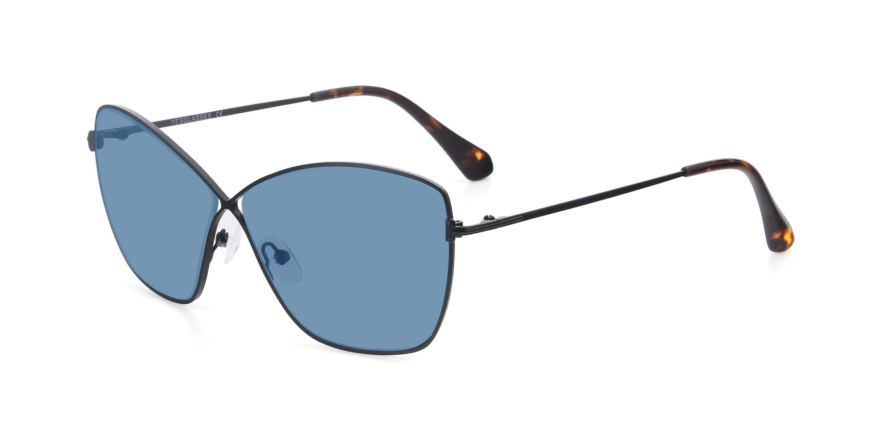 Angle of 9412 in Black with Medium Blue Tinted Lenses