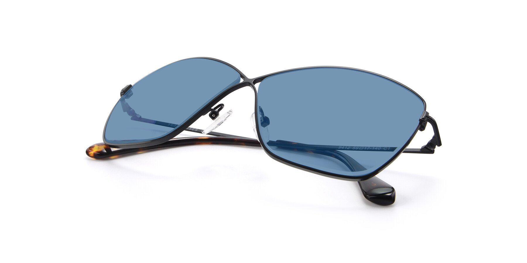 View of 9412 in Black with Medium Blue Tinted Lenses
