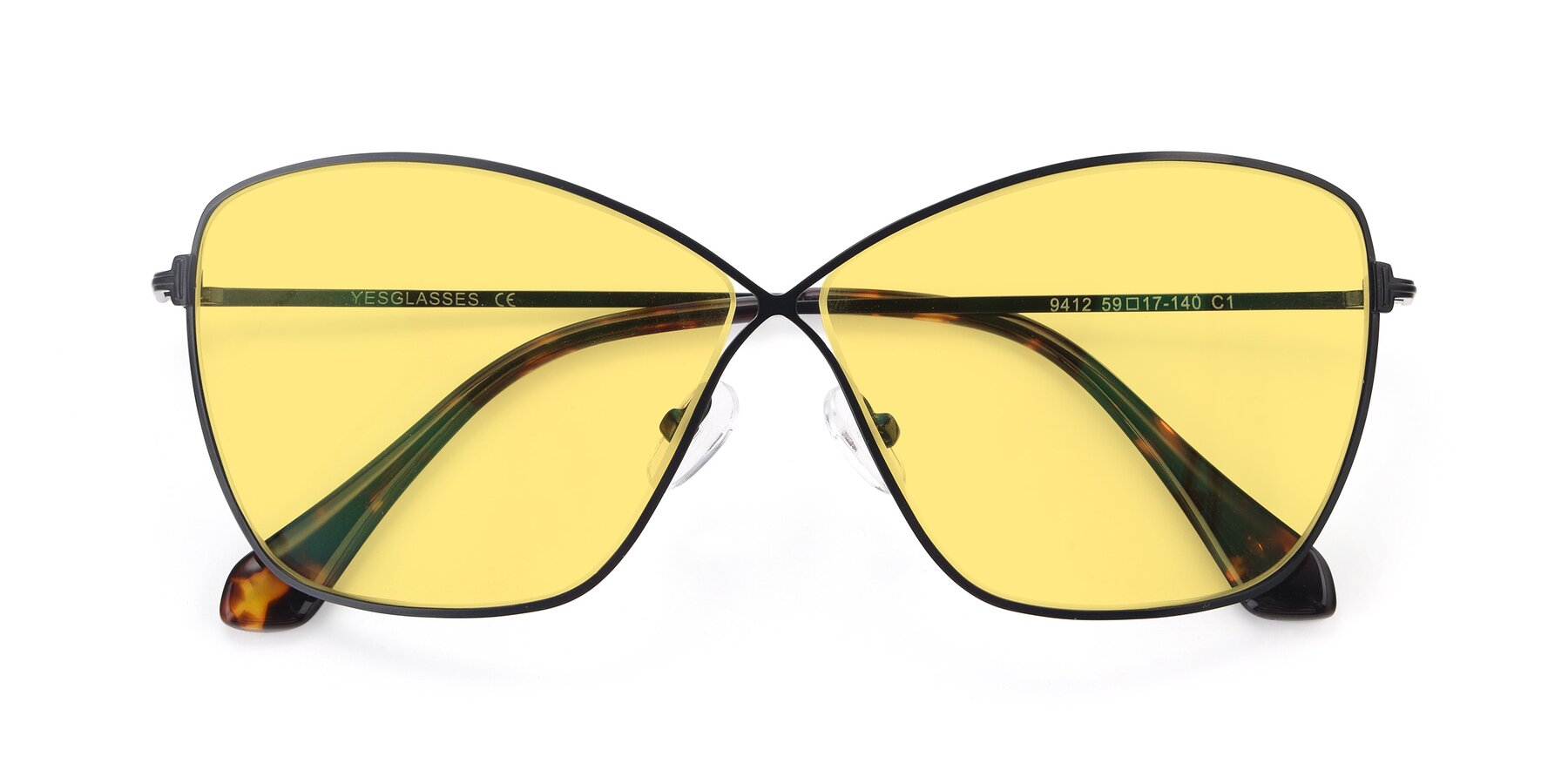 Folded Front of 9412 in Black with Medium Yellow Tinted Lenses