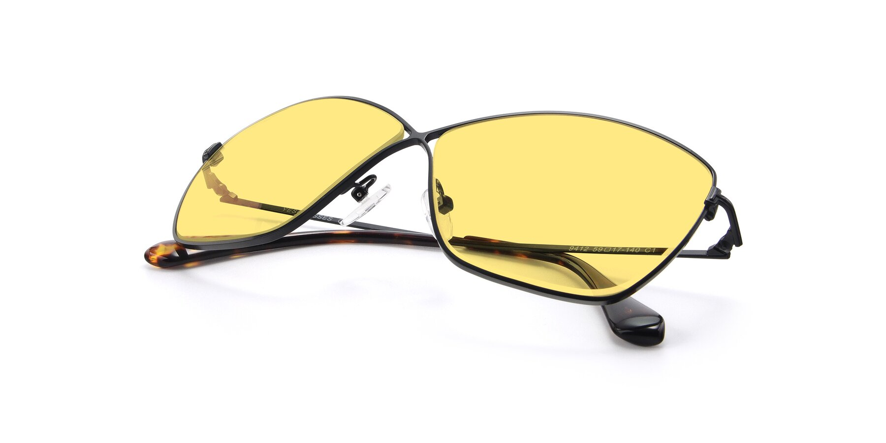 View of 9412 in Black with Medium Yellow Tinted Lenses
