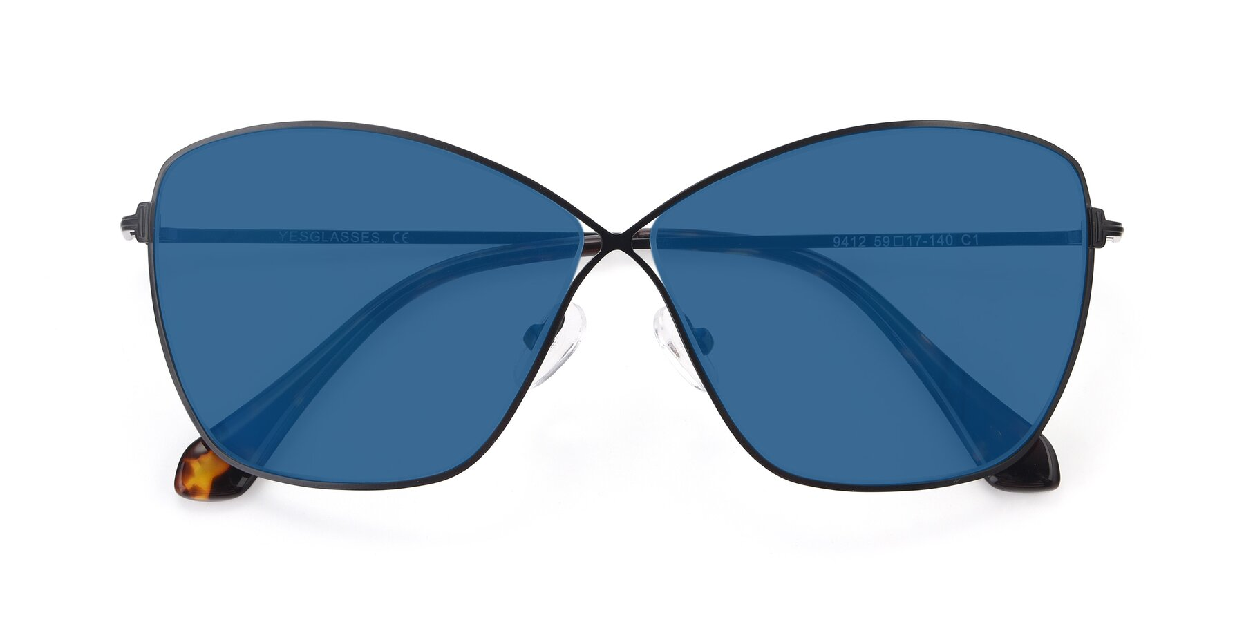 Folded Front of 9412 in Black with Blue Tinted Lenses