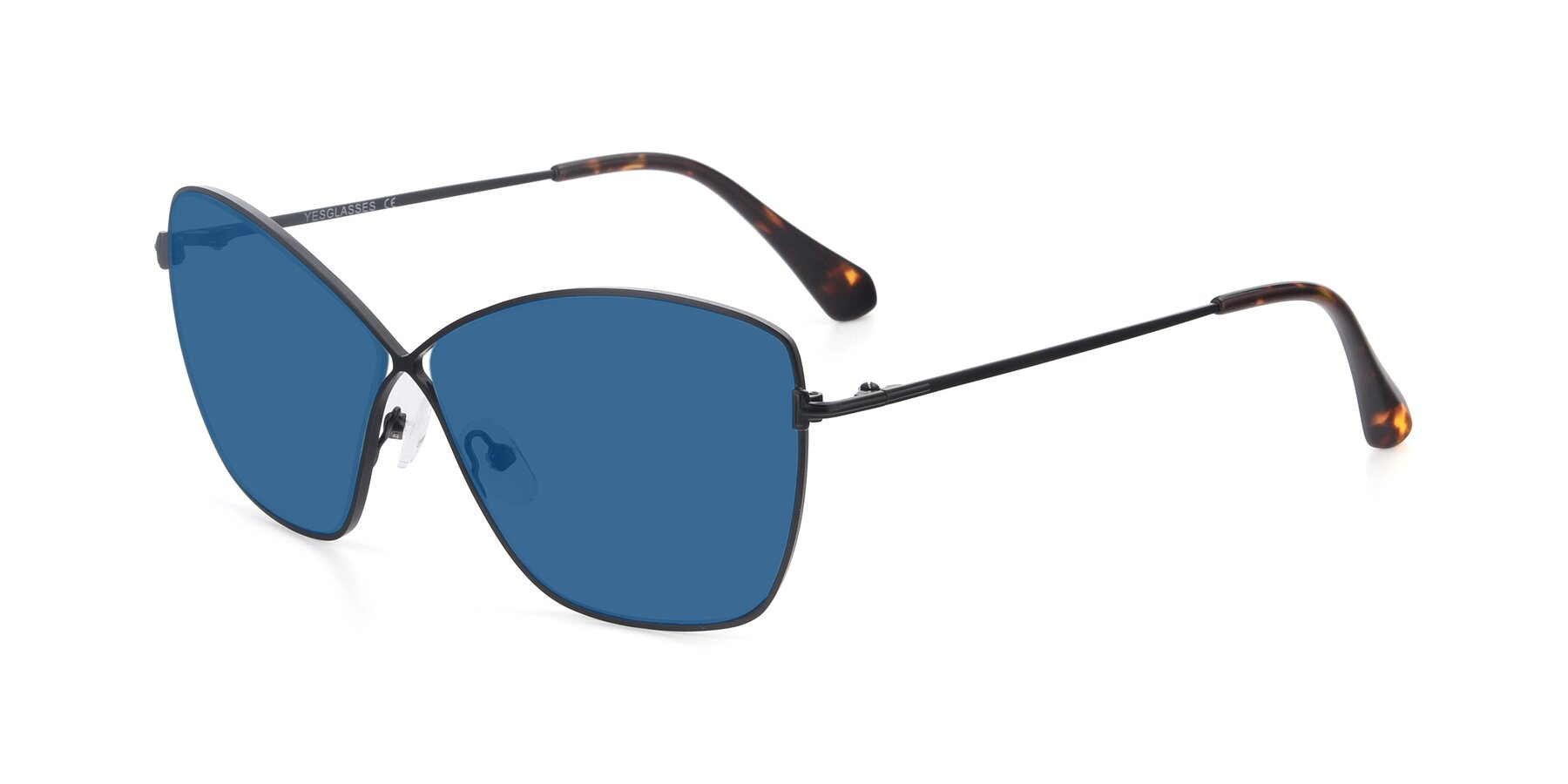 Angle of 9412 in Black with Blue Tinted Lenses