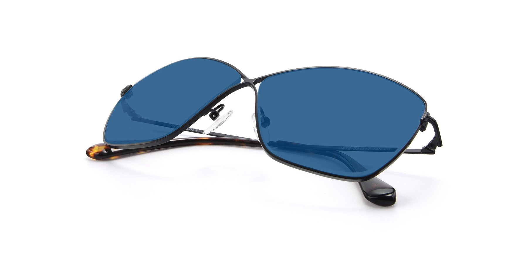 View of 9412 in Black with Blue Tinted Lenses