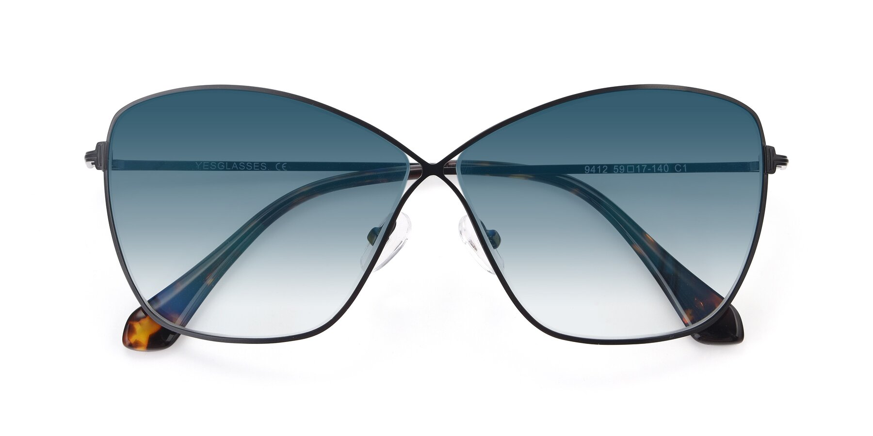 Folded Front of 9412 in Black with Blue Gradient Lenses