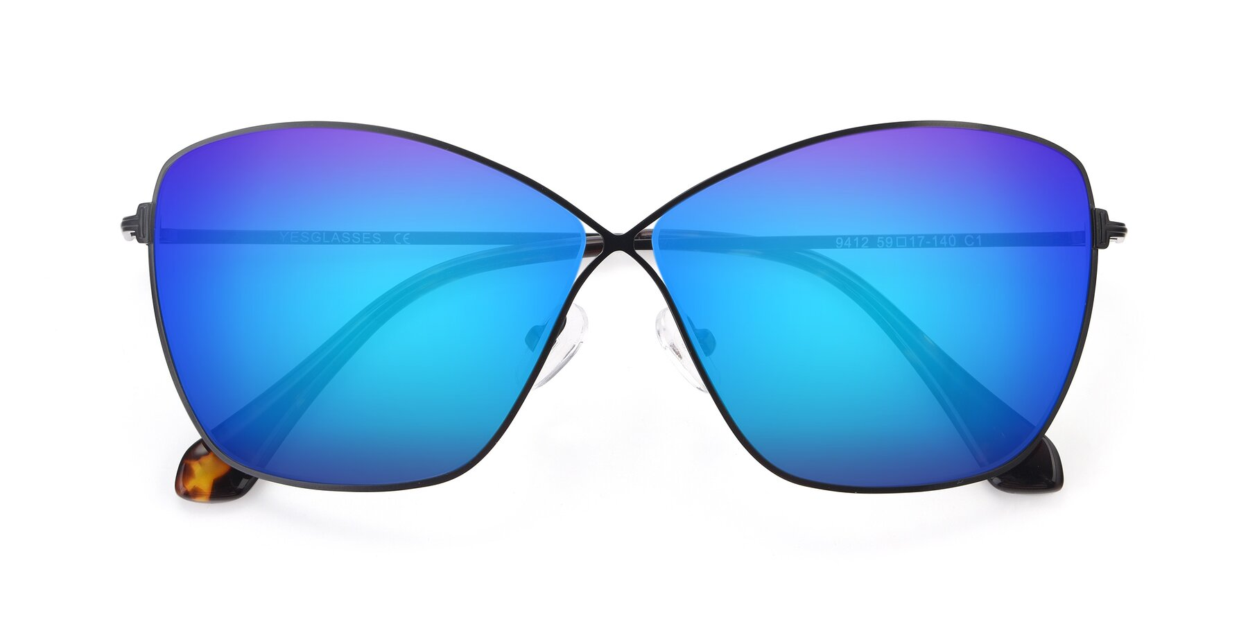 Folded Front of 9412 in Black with Blue Mirrored Lenses