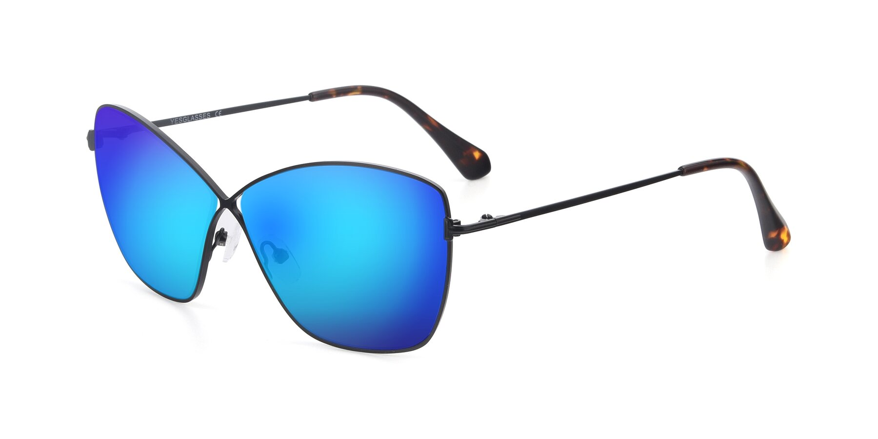 Angle of 9412 in Black with Blue Mirrored Lenses
