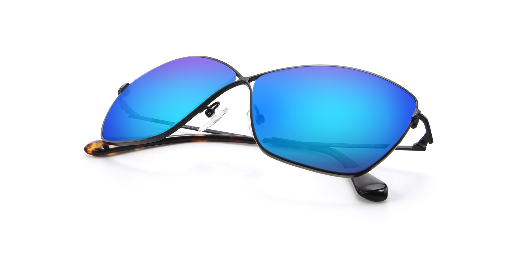 View of 9412 in Black with Blue Mirrored Lenses