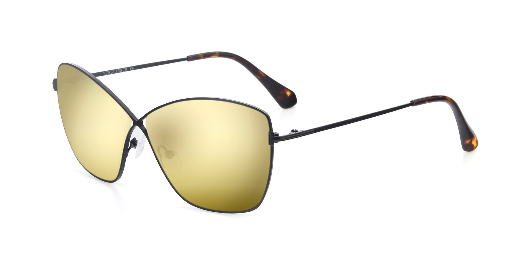Angle of 9412 in Black with Gold Mirrored Lenses
