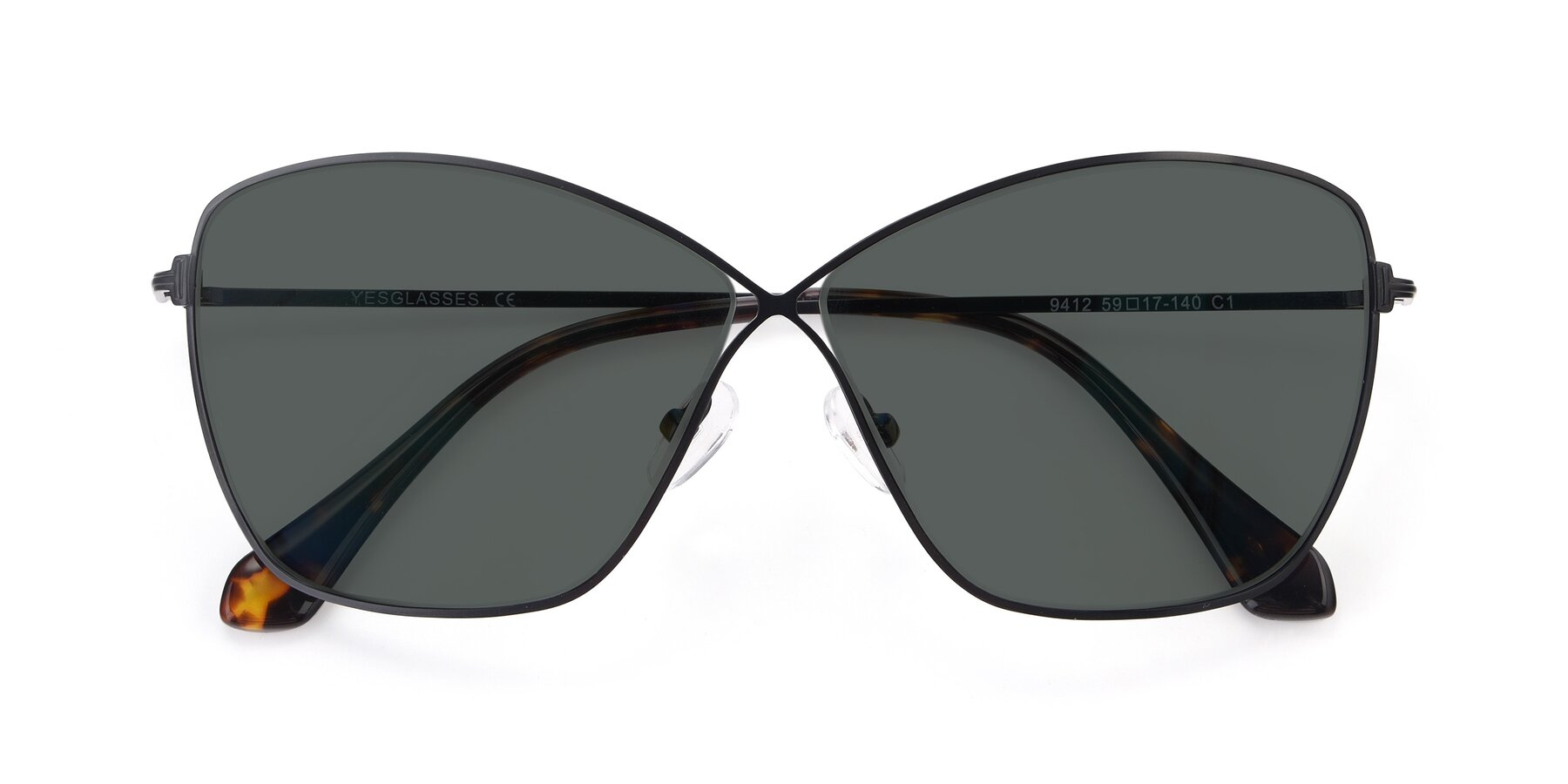 Folded Front of 9412 in Black with Gray Polarized Lenses